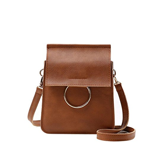 Transer Women Shoulder Bag Popular Girls Hand Bag Ladies PU Leather Handbag, Borsa a spalla donna Multicolore Green 15cm(L)*20(H)*4cm(W), Pink (Multicolore) - CQQ60901348 Brown
