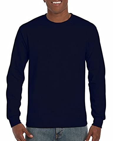 Gildan Mens Plain Crew Neck Ultra Cotton Long Sleeve T-Shirt (S) (Navy)