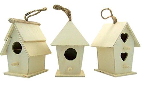 Kunst und Handwerk Holz Decor Natur unlackiert Holz Vogelhaus mit Jute Kordel zu Hängen, Set von 3