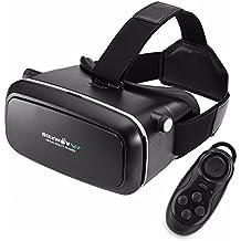VR Gafas 3D + Control Remoto Bluetooth, BlitzWolf VR Box Realidad Virtua de 3,5-6,0 Pulgadas VR Cardboard Versión Mejorada para IOS iPhone SE 6 6s Plus, Android Samsung Galaxy S5 S6 S7 Edge Note 4 5