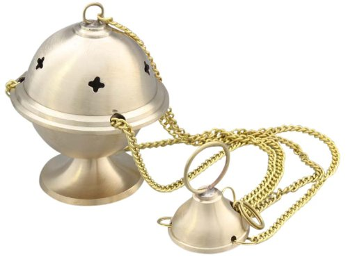 Censer censer satin brass with chain 25 cm long 6 x 10 cm by Anzm