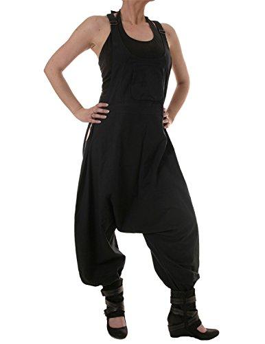 Vishes – Alternative Bekleidung – Baumwoll Latzhose Haremshose Overall schwarz ohne Stickerei 46 bis 48
