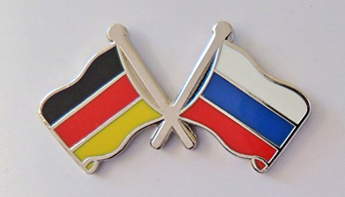 1000 Flags Germany Flag & Russia Federation Flag Friendship Courtesy Pin Badge