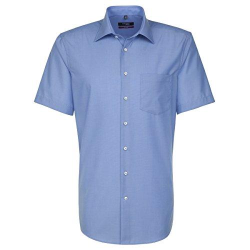 Seidensticker Herren Businesshemd Modern Kurzarm mit Kent-Kragen Bügelfrei, Blau (Mittelblau 14), X-Large (Herstellergröße: 44)