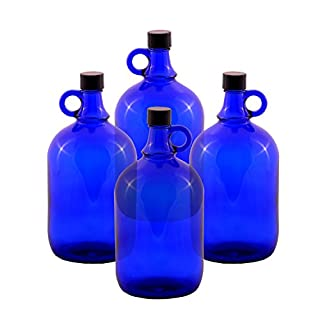 Glass balloon Bottle Gallon Blue glass Bottle 2 Liter or 5 Liter Screw cap Synthetic black - Henk eleven tab blue glass, ideal for Aquadea Crystal - Swirl Water, Two Litre or Five Litre - 4 x 2 Liter
