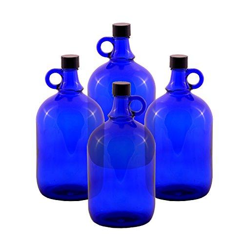 LGL Haushaltswaren GmbH Glasballonflasche/BLAU/Gallone / 2 Liter oder 5 Liter (4 x 2 Liter) Blau Glas