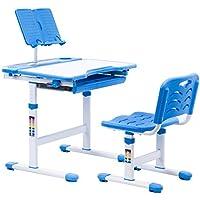 Preisvergleich für Kinderschreibtisch mit Stuhl, Schülerschreibtisch-Set, Ergonomisch Verstellbarer Tisch, inkl. Stuhl (Prinz Blau)