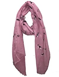 Pamper Yourself Now Pink German Shepherd Design Long Scarf/Wrap With Frayed Edge