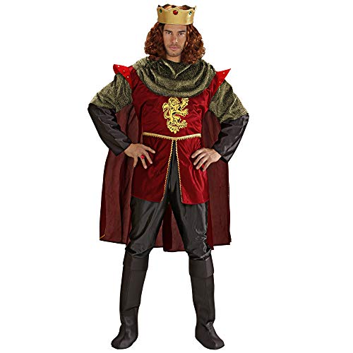 Widmann 35503 - Kostüm König, Shirt, Hose, Umhang, Schuhcover und Krone, Größe L