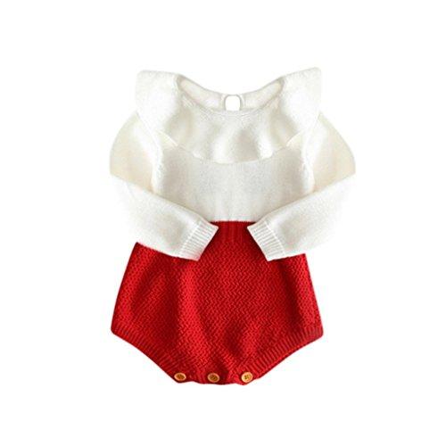 Kobay Kinder Mädchen Baby Gestrickte Pullover Winter Prinzessin Strampler Overall Kleidung -