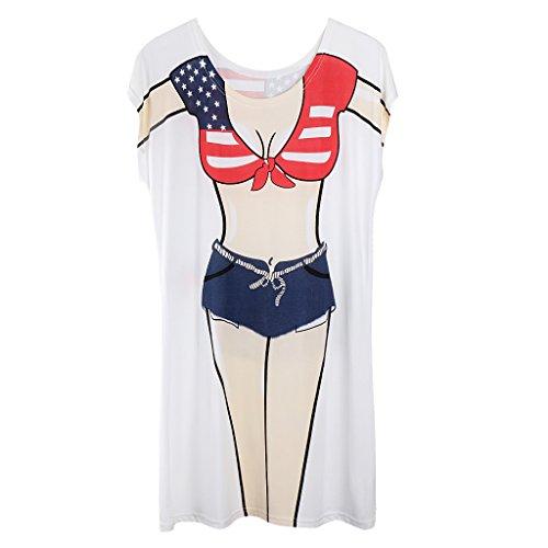 Homyl Herren Damen Spaß Motiv Tops Sexy Lady Fun Shirt Bikini Cover Up T-Schirt Lustiges T-Shirt für Strand Urlaub Hen Party Junggesellinnenabschied Kostüm - Farbe 6, wie beschrieben