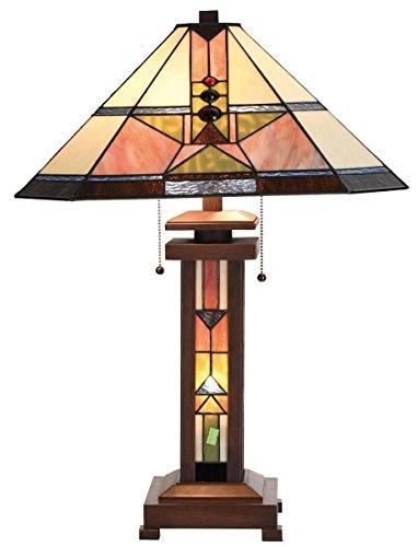 Lumilamp 5LL-5781 Tischleuchte Tischlampe Art Deco Tiffany Stil 42 * 60 cm 2X E27 max 60w dekoratives buntglas Tiffany Stil -