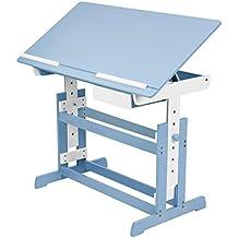 TecTake Escritorio Infantil 109 x 55 cm reguable en altura azul/blanco