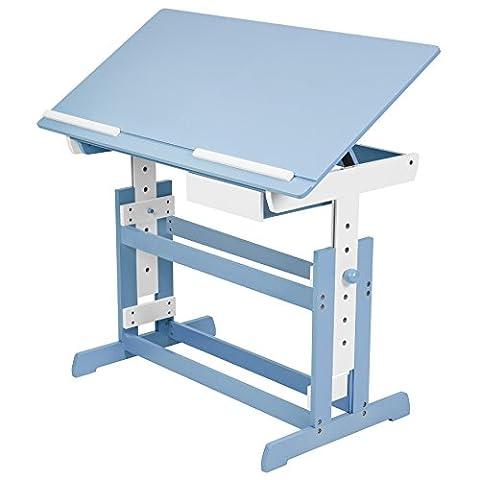 TecTake® Kinderschreibtisch 109x55cm höhenverstellbar neigbar blau