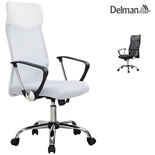 rostuhl ergonomische Chefsessel mit Netzrücken Wippfunktion feste Armlehne Höhenverstellbar 02-1003 (Weiß) ()
