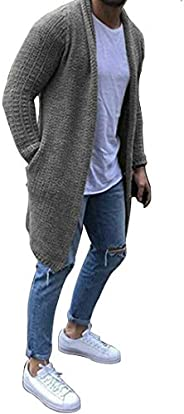 GYUANLAI Men's winter Cardigan Sweater Leisure Long Knit Jacket Solid Cotton Shawl Collar Two pockets