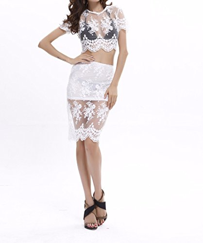 QIYUN.Z Blanc Femmes dentelle Deux Pieces Robe Svelte Sexy See-Through Midriff Back-zippe Blanc