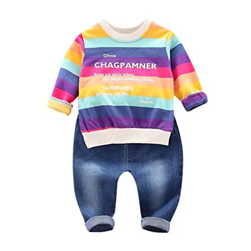 et Baby Kinder Jungen Brief Gestreiften Regenbogen Langarm Top aus Baumwolle + Jeans Zweiteiliges Set 6M-3J ()