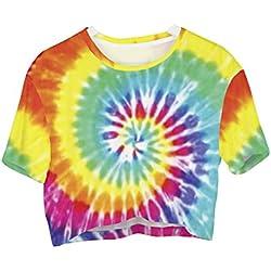 Fringoo® - Camiseta crop top de manga corta recortada, para jóvenes, talla 36, 38, 40, 42 multicolor Tie Dye - Tee