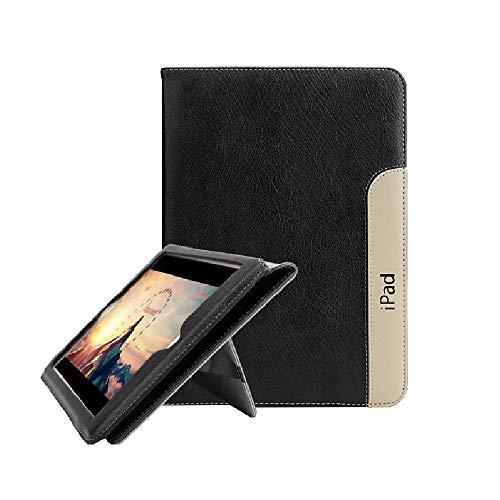 iPad 2/3/4 Hülle FANSONG Echt Leder Smart [Flip Ständer, Aufwachen/Schlafen Funktion] für Apple iPad 2/3/4, Schwarz