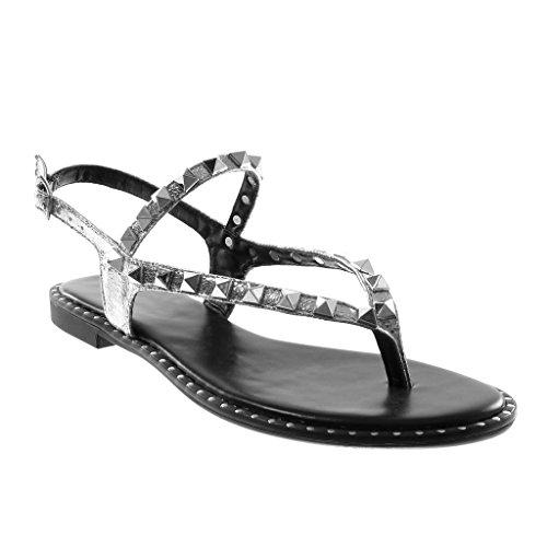 Più Flangia Cinghia Sandalo Metallizzato Tacchetti Angkorly 5 Lucido Tacco Modo Caviglia Centimetri 1 Tong Donna Di Argento 0UqpH