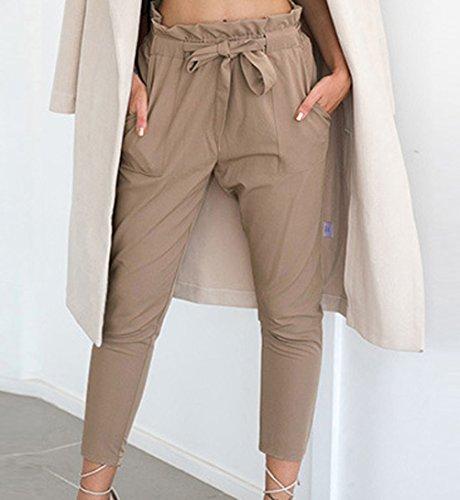 Autunno Primavera Donna Della Slim Adatti I Pantaloni Vita Alta Casual Pants di Colore Solido Avere Una Cintura Leggings Skinny-Pantaloni Pants Cachi