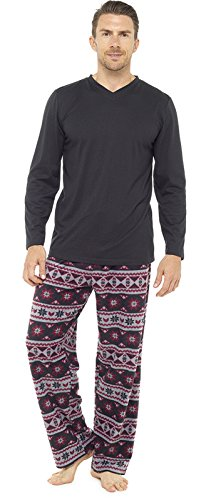 2-teiliger Luxus Herren-Pyjama, volle Länge, warmes Winter-Set, Thermo-/Jersey-Top, Flanellhose Gr. X-Large, Red Patterned Pants (Pjs Flanell Herren)