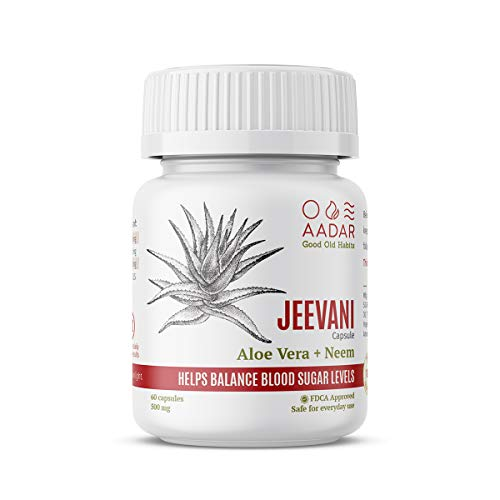 AADAR JEEVANI Natural Blood Glucose Support, with Aloe Vera & Neem - 60 Capsules