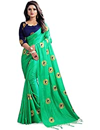 Women's New Designer Embroidery Paper Silk Saree With Blouse Piece By V.K.Creation