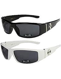Choppers - Lot de 2 paires de lunettes de soleil dans les coloris noir anthracite argent et blanc - Unisexe Femmes Hommes Moto Motocycle Motocyclette Sport Vélo Bicyclette Mode Fashion