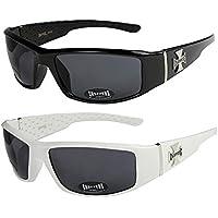 2er Pack Locs 9058 X03 Sonnenbrillen Herren Brille - 1x Modell 06 (schwarz glänzend - Bandana-Design blau / schwarz getönt) und 1x Modell 06 (schwarz glänzend - Bandana-Design blau / schwarz getönt) uBDKywPm