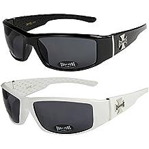 2er Pack Locs 9058 X 02 Sonnenbrillen Unisex Herren Damen Männer Frauen Brille - 1x Modell 01 (schwarz glänzend/schwarz getönt) und 1x Modell 03 (weiß glänzend/schwarz getönt) PPBv3QQnp