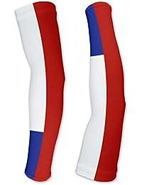 Chile Flag Manguitos de Compresion con proteccion UV - Caminar - Ciclismo - Correr - Golf