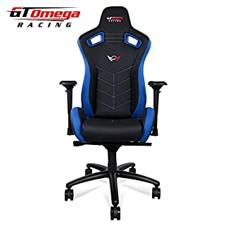 GT Omega Racing Sport asiento de silla de oficina, deportiva, cuero negro y azul