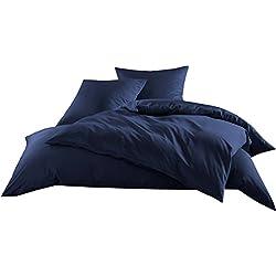 Mako-Satin Baumwollsatin Bettwäsche Uni einfarbig zum Kombinieren (Bettbezug 155 cm x 220 cm, Dunkelblau)