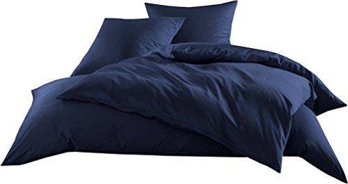 Mako-Satin Baumwollsatin Bettwäsche Uni einfarbig zum Kombinieren (Kissenbezug 80 cm x 80 cm, Dunkelblau)
