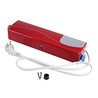 Zerodis Chauffe Eau Instantanné Electrique sans Réservoir Valve de Soulagement de Pression 220V 3000W Mini Chauffe-Eau INOX Instantané Utilisé Robinet Evier Cuisine Salle de Bains (Red)