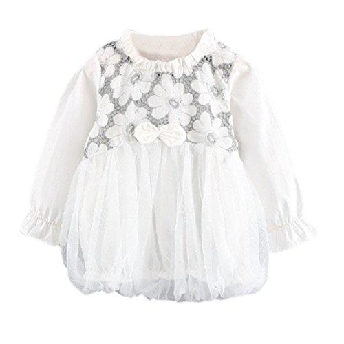 0-3 Jahre Kinder Pompon Kleid, DoraMe Baby Mädchen Mode Herbst Mesh Floral Niedliche Minikleid Kleinkind Net Garn Kleid (Weiß, 6-12 Monate) (Kinder Kleidung Hilfiger Tommy)