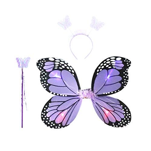 Amosfun MädchenFeeKostüm LEDPrinzessinSchmetterlingsflügelHaarreif ZauberstabKinderFlügel Feenflügel PartyKostümFeenstab 3-teiligesSet (lila)