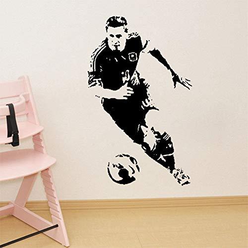 jiuyaomai Wandkunst Fußballspieler Lionel Wandaufkleber Wohnkultur Vinyl Tapete Home Art Sport Fan Geschenke Wandbilder Rosa 35x57cm