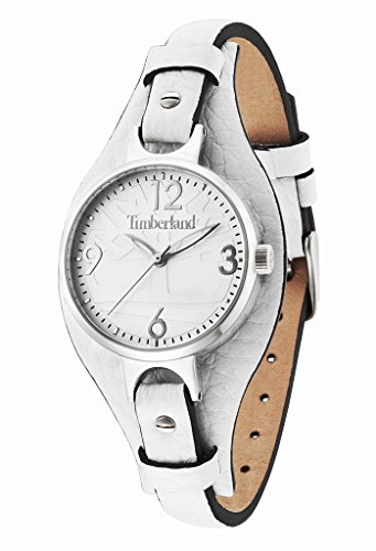 Timberland Deering Women's Quartz Watch with Silver Dial Analogue Display and White Leather Strap 14203LS/01