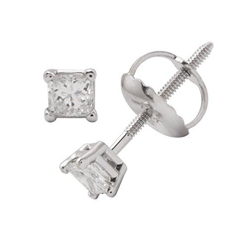 Diamant Coupe Princesse certifié IGI Boucles d'oreilles clous en or blanc 14K (couleur buyfinediamonds g-H, clarté si1-si2)