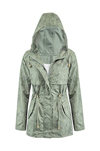 New Shelikes Womens Hooded Mac Light Showerproof Rain Jacket (12, Floral)