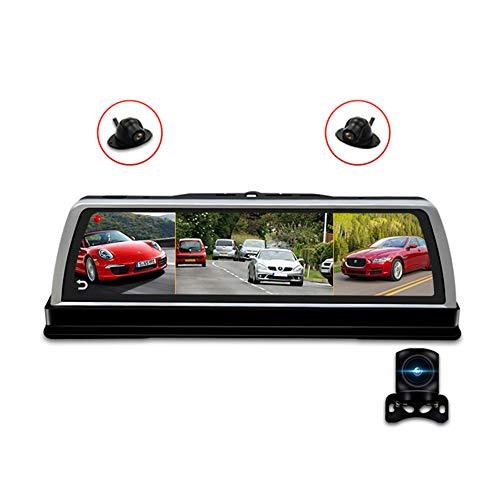 Stream Media Espejo Retrovisor del coche Espejo DVR Cámara 4 Cámaras Dash Cam10in Pantalla táctil Grabadora de conducción de automóviles con GPS, Wifi, Grabación de bucle, Bluetooth, G-Sensor