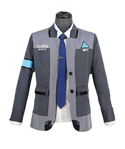 Connor Jacke Uniform Mantel mit Weiß T-Shirt Krawatte Anzug Herren Kostüm Cosplay Halloween Fancy Dress Kleidung