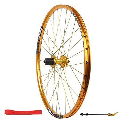 ZNND 26in MTB Fahrrad-Hinterrad, Doppelwandig Berg Rand Schnelle Veröffentlichung V-Brake Hybrid/Berg Fahrradscheibe 7 8 9 10 Geschwindigkeit (Farbe : Gold) -