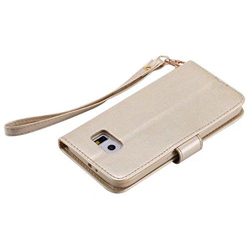 Horrizontal Folio Stand PU Ledertasche, Geldbörse Geldbörse Abdeckung Fall mit Lumious Shining Effekt & Lanyard für Samsung Galaxy S6 ( Color : Rose-gold ) Gold
