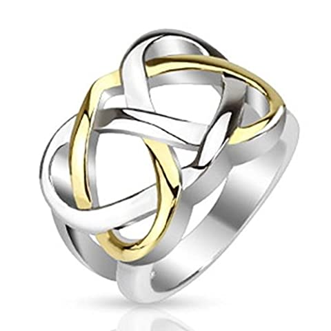 Paula & Fritz Stainless Steel Ring Width 15mm Silver Plated Celtic Knot Cast Ring Sizes
