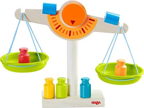 HABA 302639 - Kaufladen-Waage | Waage für Kaufmannsladen aus Holz mit zwei Waagschalen aus Kunststoff, 5 Messgewichten und 2 Ausgleichsgewichten | Spielzeug ab 3 Jahren
