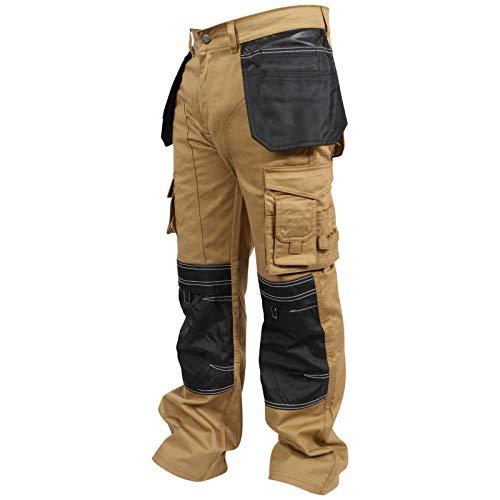 Preisvergleich Produktbild newfacelook Herren Arbeitshose Cargohose Hose Knie Taschen Sicherheits,  Khaki,  36W / 34L